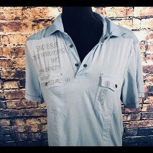 INC Blue Short Size Medium Short Sleeve